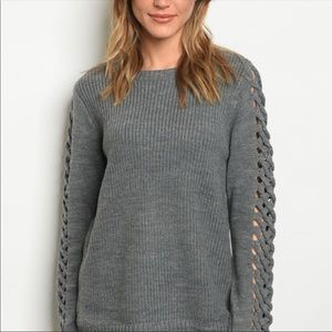 Sweaters - New! Charcoal Gray Cut Out Detail Sweater